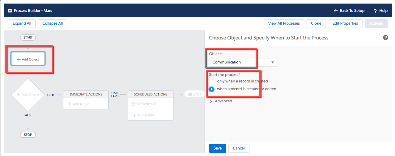 Process Builder is used to choose and object, which in this case is named Communication