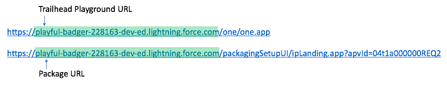 Make sure that the package URL matches your Trailhead playground URL.