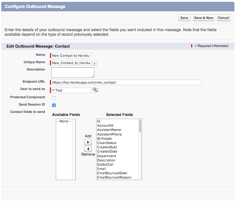 Screenshot of the Configure OUtbound Messaging dialog, showing the message named New Contact to Heroku
