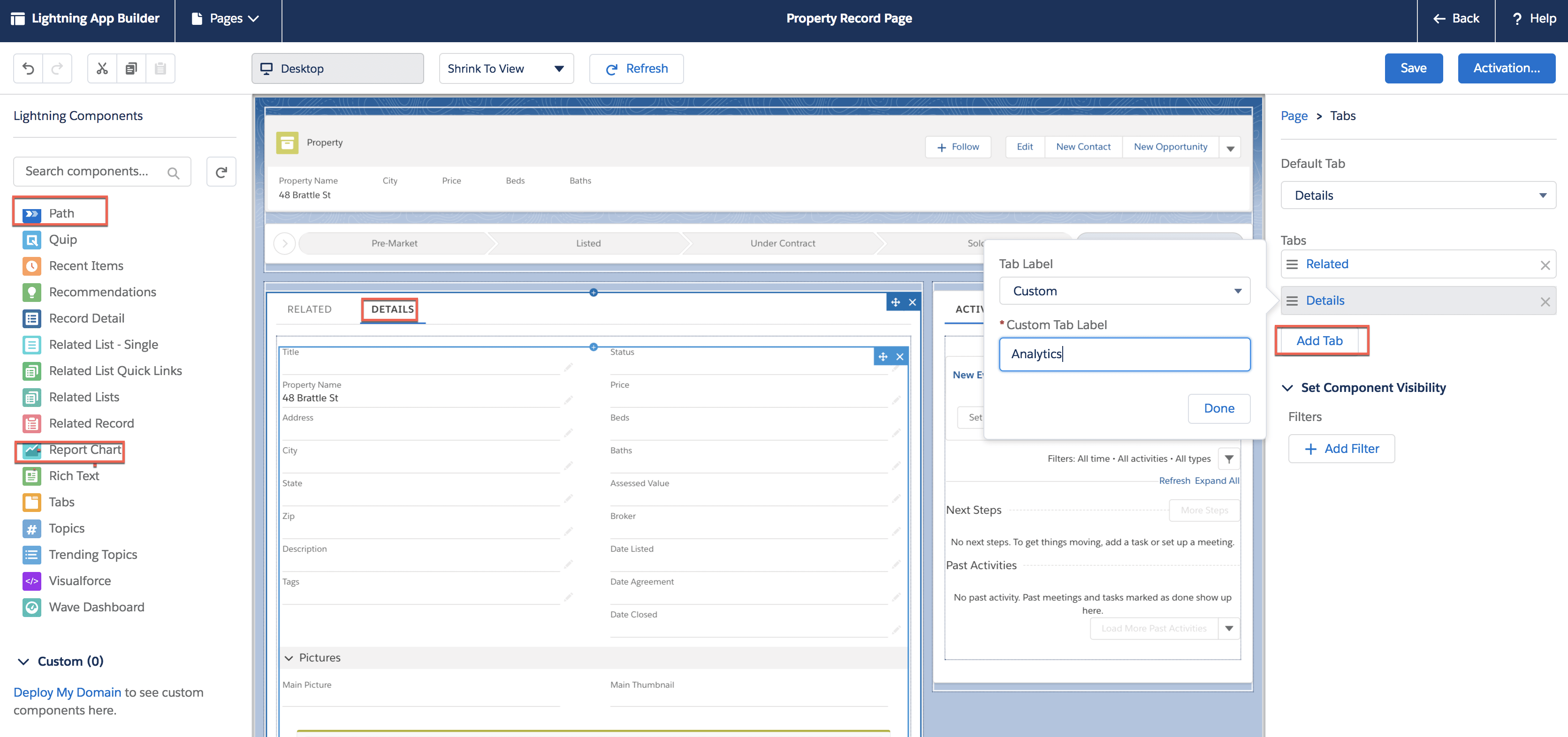 Image that shows the Path component being dragged onto the Property record page