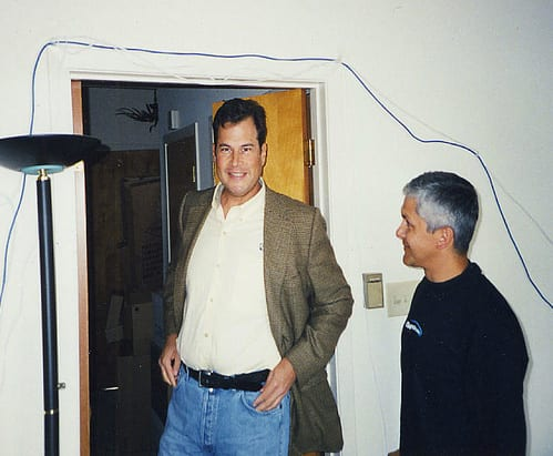 Marc Benioff in the first Salesforce office, an apartment in Telegraph Hill, San Francisco.