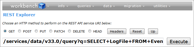 A more complex query in the REST Explorer using the REST API.