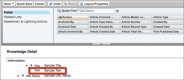page layout editor for Knowledge with the Title field on top and the Text field directly below it