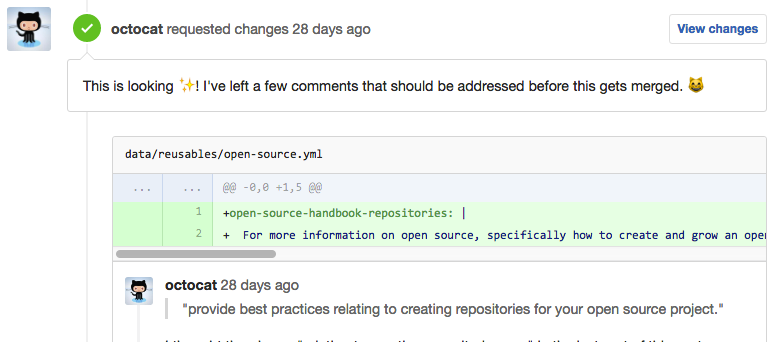 Screenshot showing discussion around code changes in a commit.
