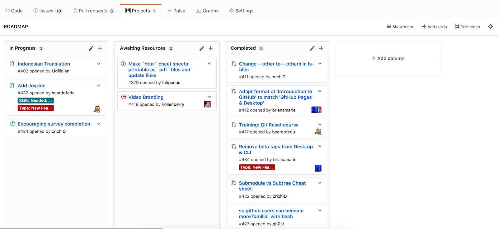Screenshot of GitHub's Kanban style project boards.