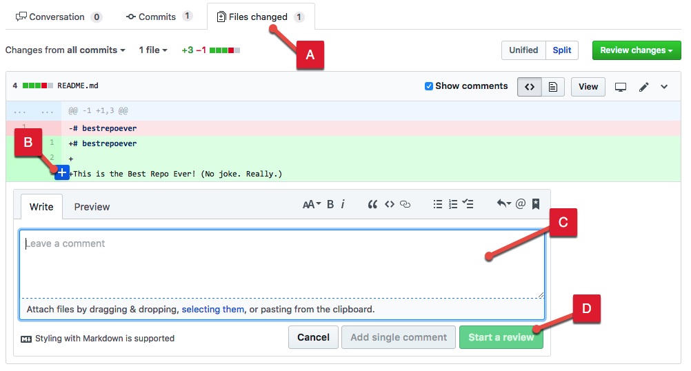 Screenshot showing how to add line comments.
