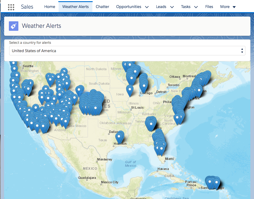 Display Weather Alerts In Lightning Experience Unit Salesforce - Us weather alerts map