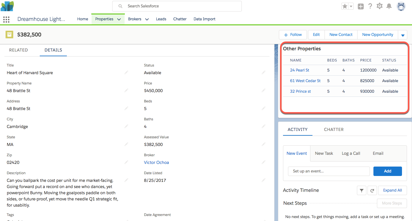 Screenshot showing new Visualforce component on the Properties page