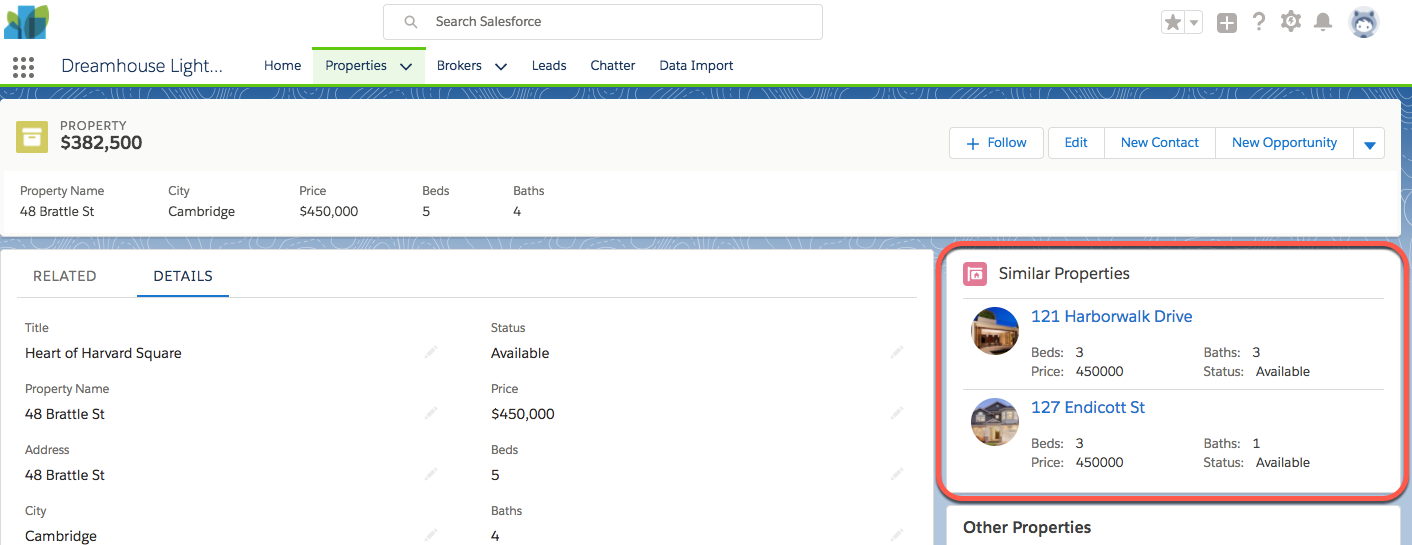 Screenshot of the SimilarProperty Lightning Component revised.