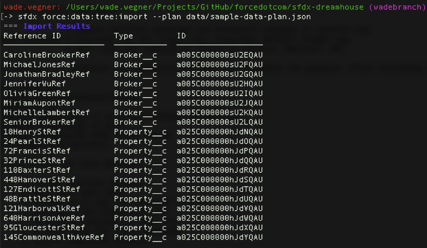 Image shows importing sample data into the Org