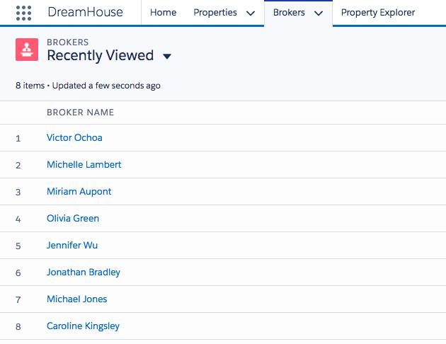 """""""Brokers"""" tab of Dreamhouse app"""