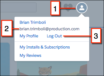 The AppExchange, with callouts highlighting the logged in profile, the logged in username, and the Log Out button.