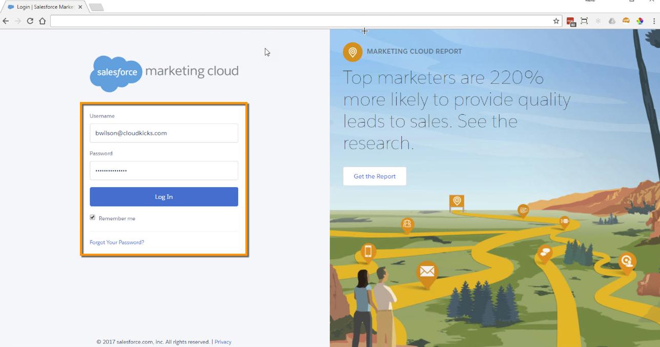 Marketing Cloud login screen
