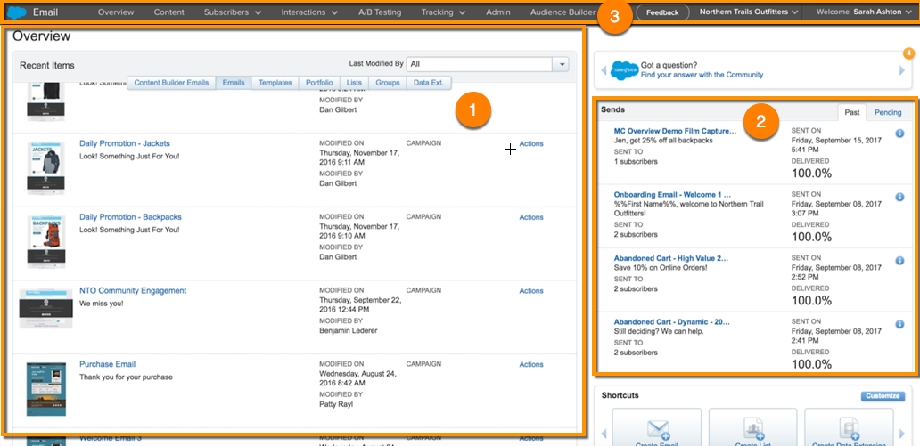 Email Studio Overview page