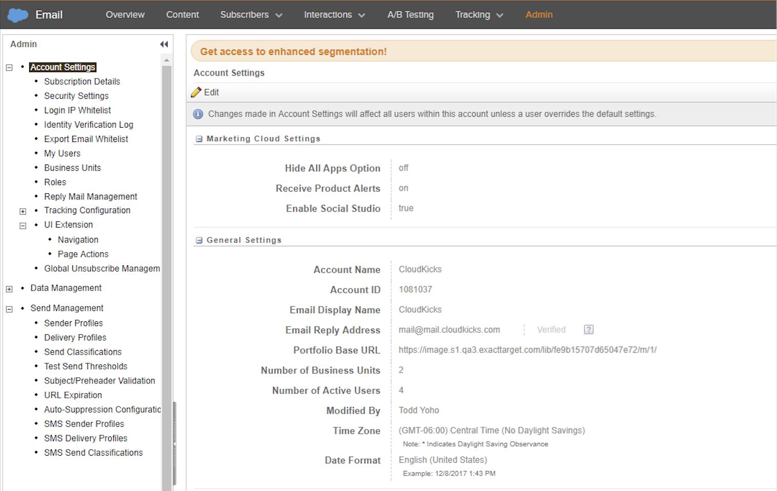 Screenshot of Admin tab