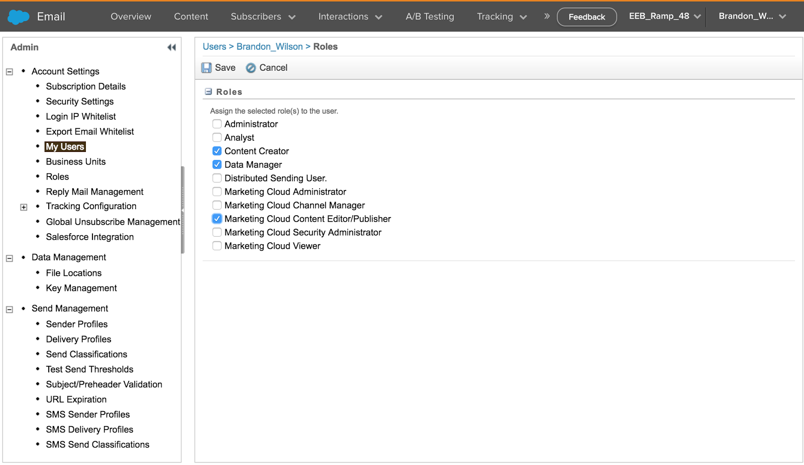 Screenshot of assigning user roles