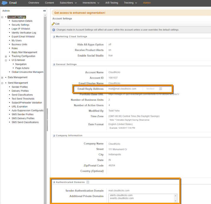 Screenshot of where in account settings you check for or initiate domain authentication