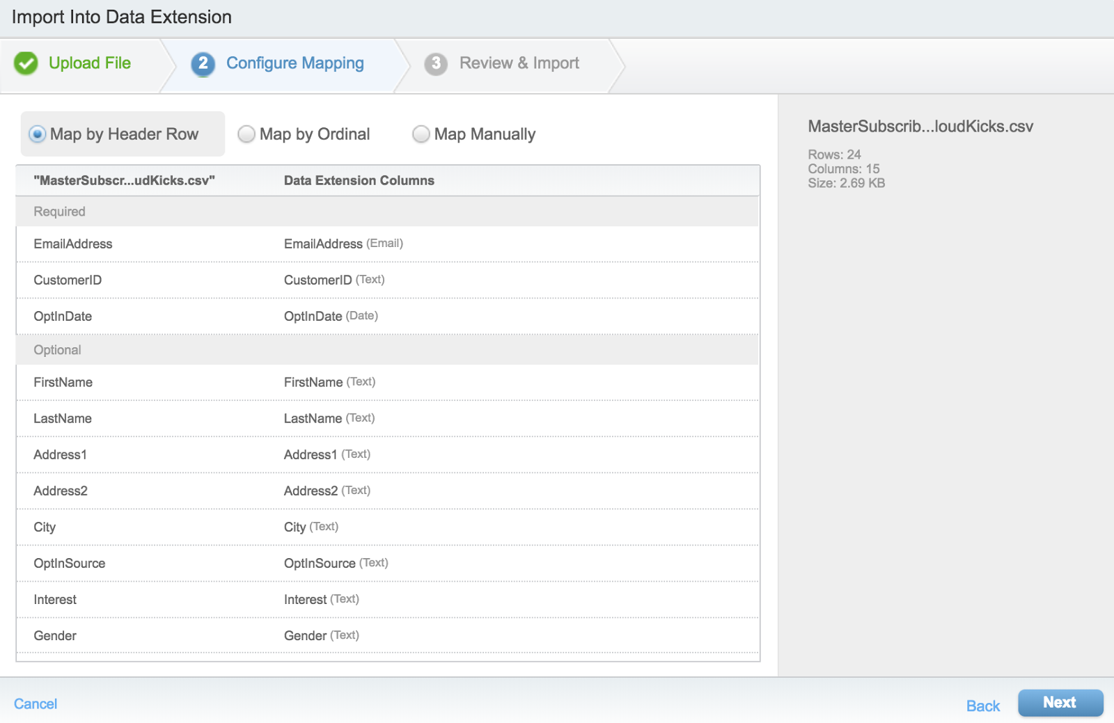 Import Wizard Step 2: Configure Mapping