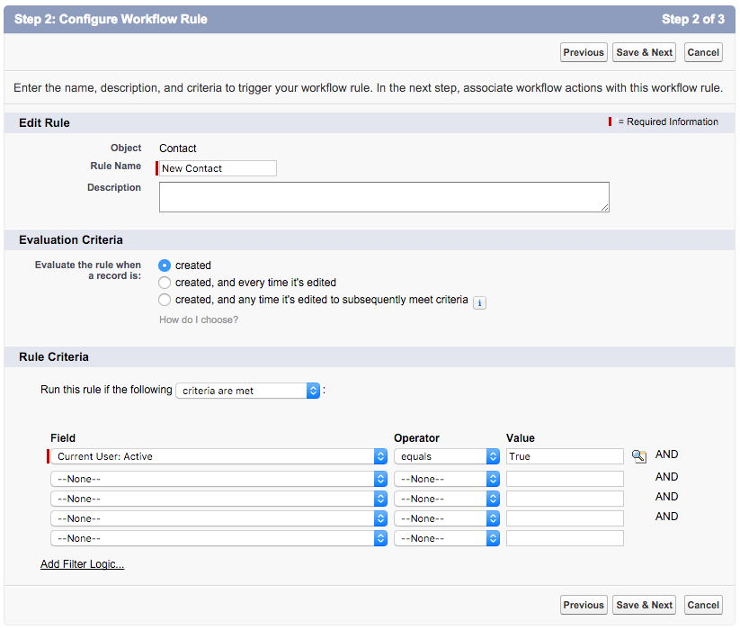 Screenshot of the Configure Workflow Rule dialog showing that the rule name should be New Contact