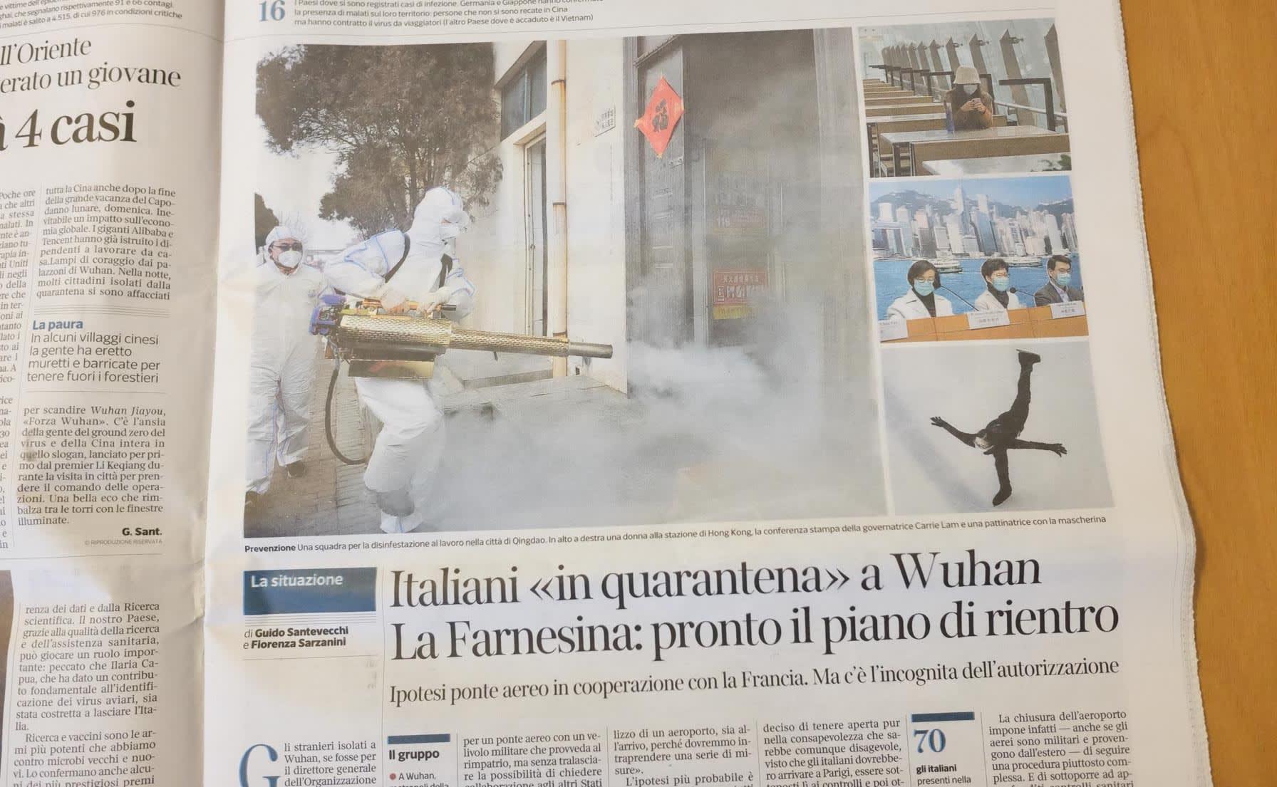 中国国内の様子を報じるイタリアの新聞