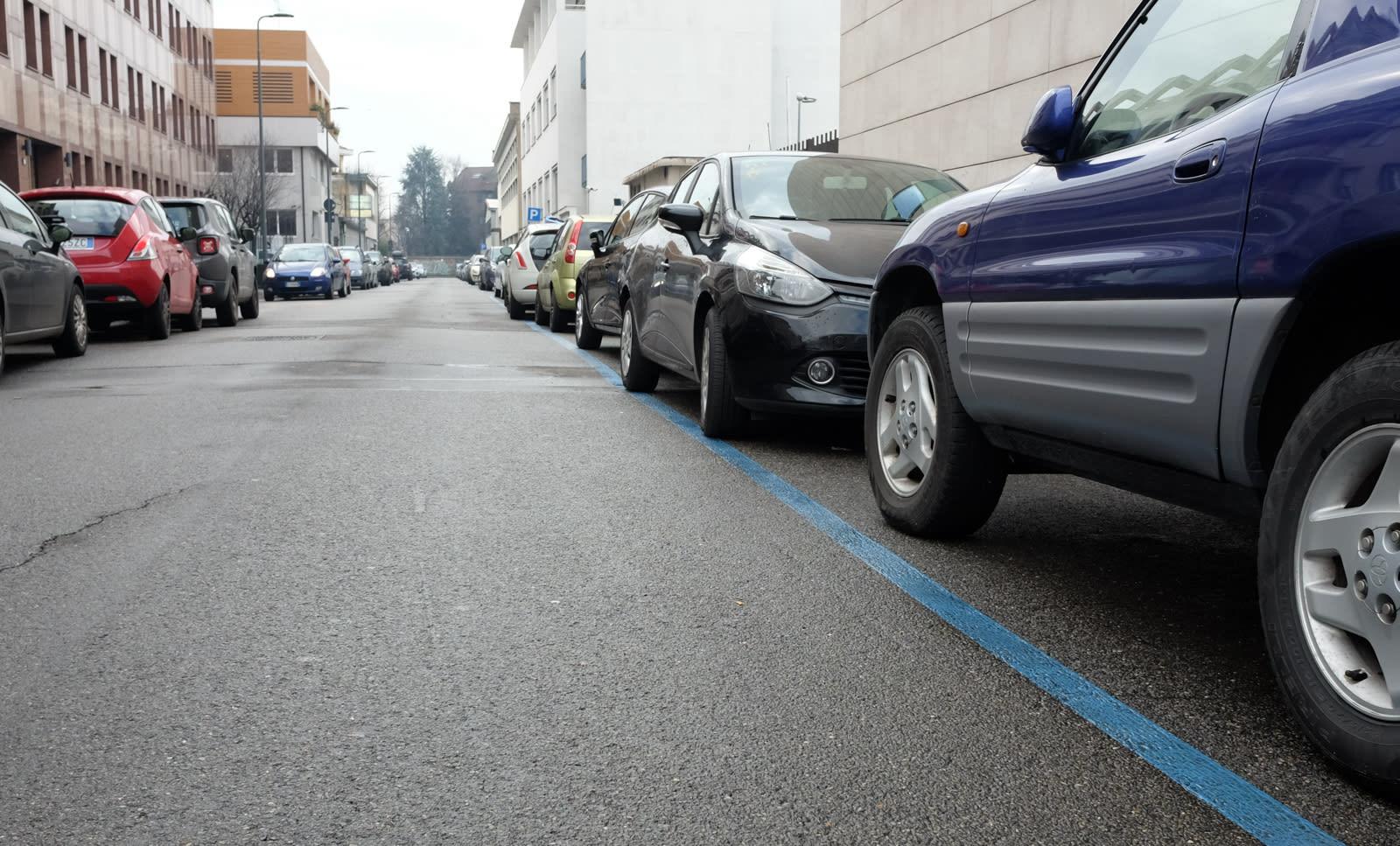 青のラインは有料、白のラインは無料で誰でも止められる