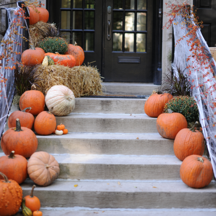 Steps Lined with Pumpkins