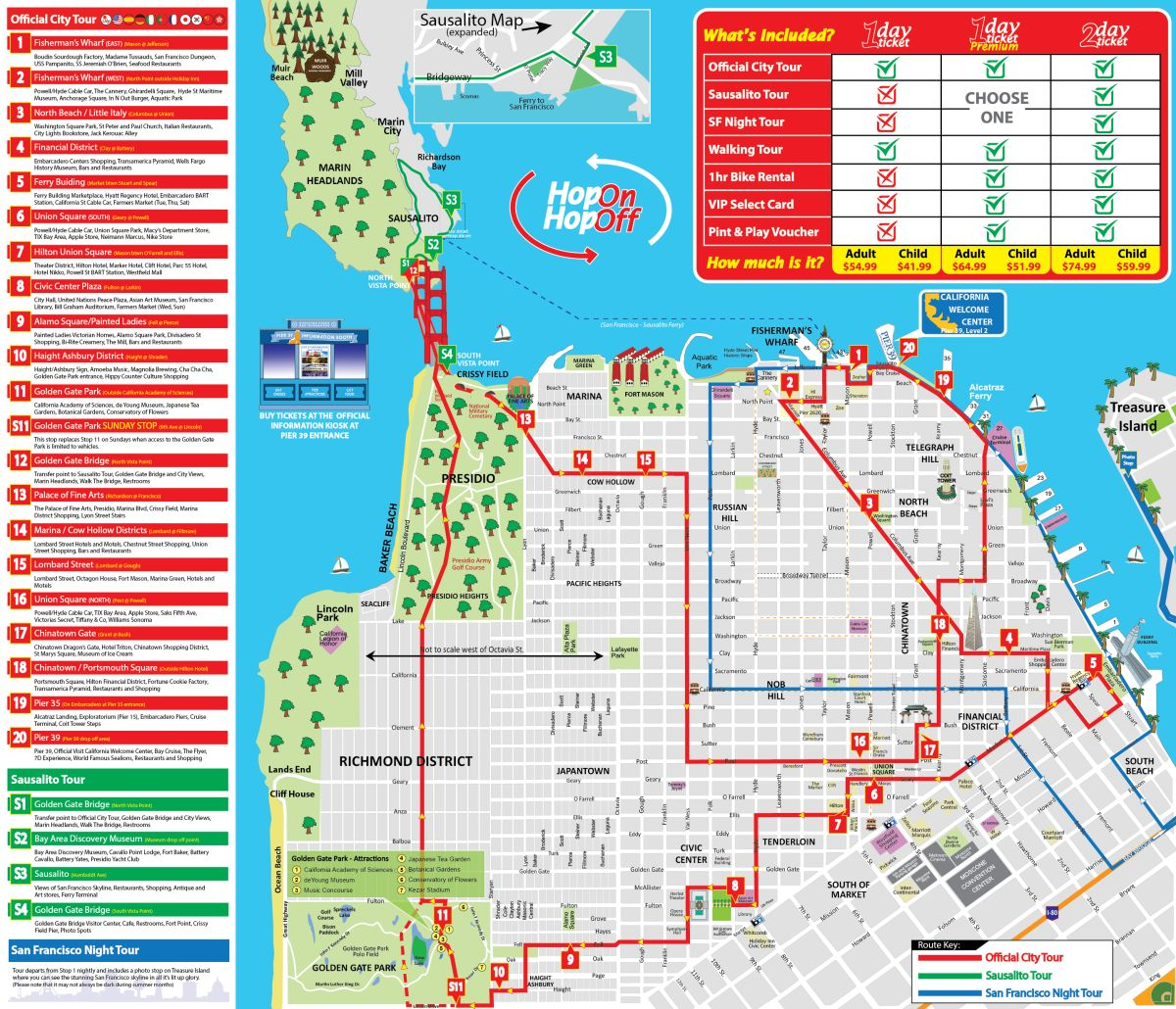 San Francisco Map Tourist.San Francisco Tour Map City Sightseing