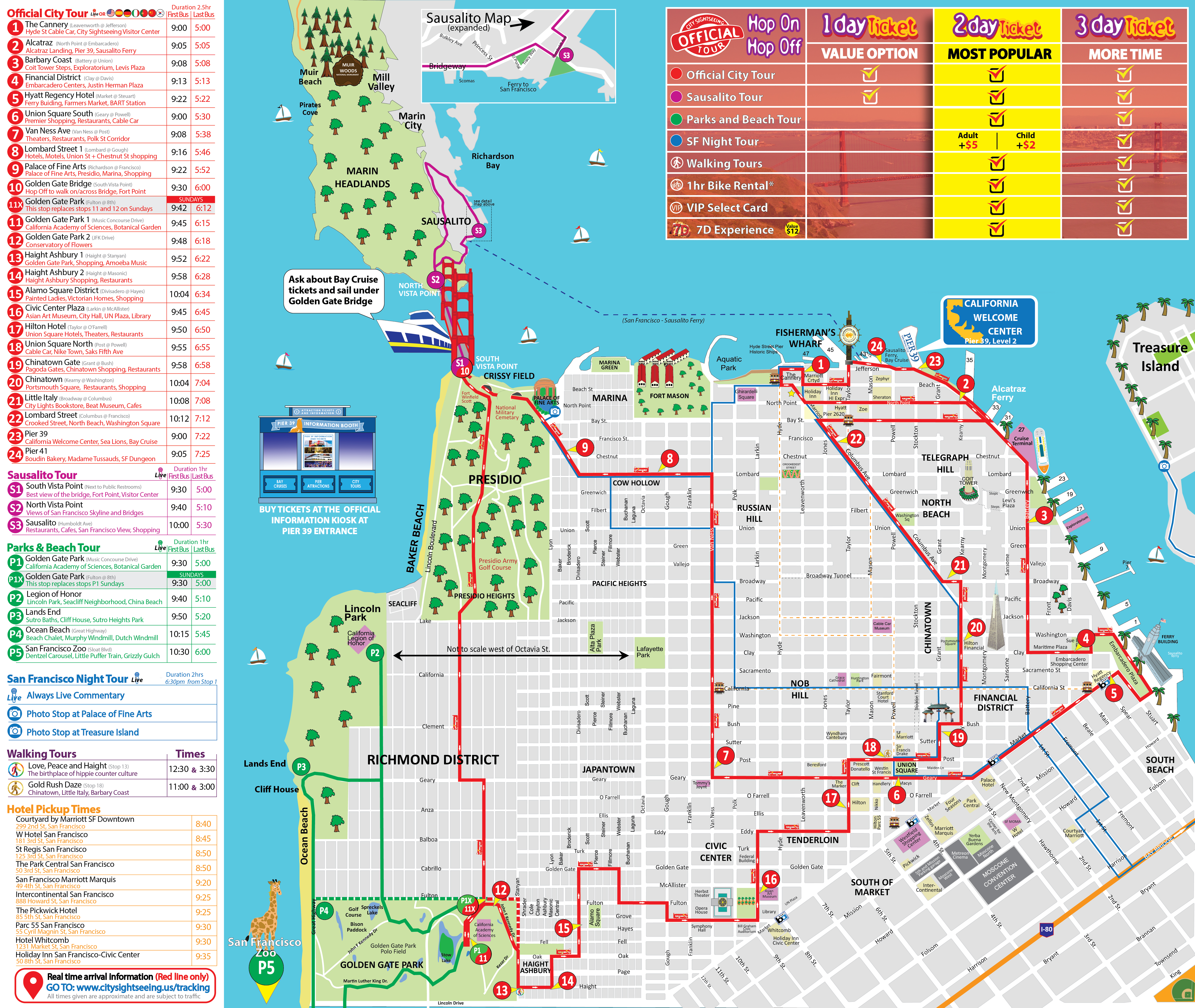 San Francisco Tour Map City Sightseing