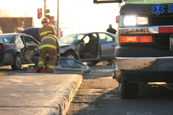 Car crash with paramedics