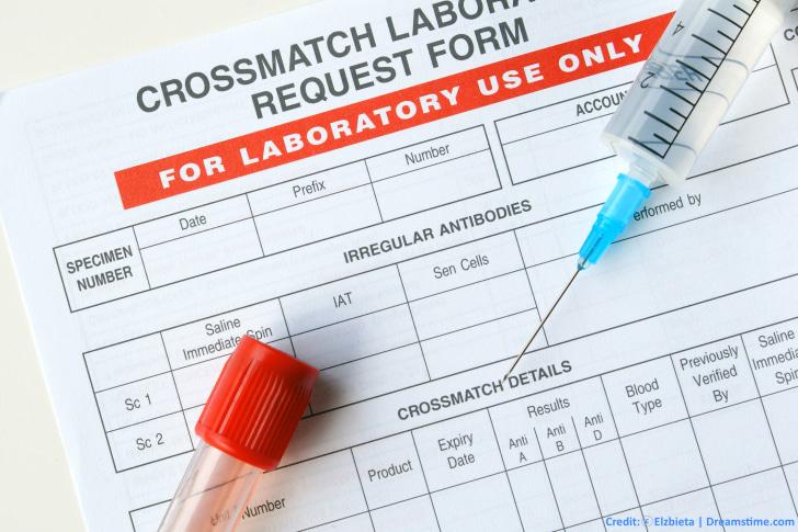 Blood crossmatch request form
