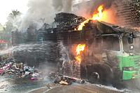 A truck fire at Chbar Ampov's...