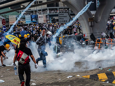 Extradition Protesters in Hong Kong F...