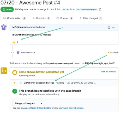Screenshot of GitHub Pull Request with thumbs-up reaction and pending GitArborist status