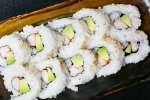 imitation crab, cucumber, and avocado for making a california roll