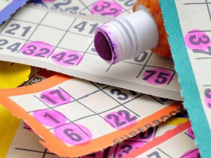 bingo board with marker