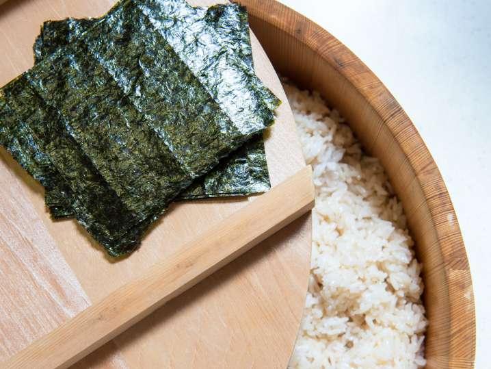 nori and sushi rice