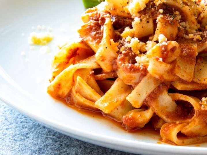 Homemade Tagliatelle in San Marzano Sauce