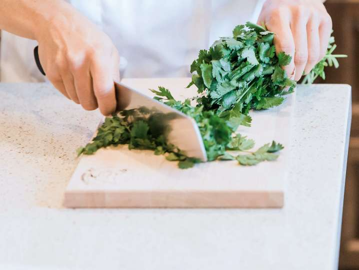 chopping cilantro for spring rolls   Classpop