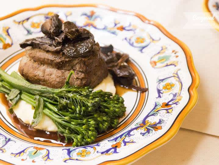 5 Dot Ranch organic beef slow-cooked in white wine & herbs accompanied by wilted Spigarello greens | Classpop