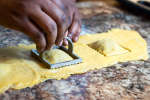 chef stamping homemade ravioli