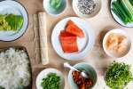 ingredients for salmon uramaki roll   Classpop