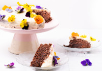 Gluten Free Chocolate Cake With Edible Flowers