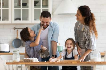 parents and kids cooking together