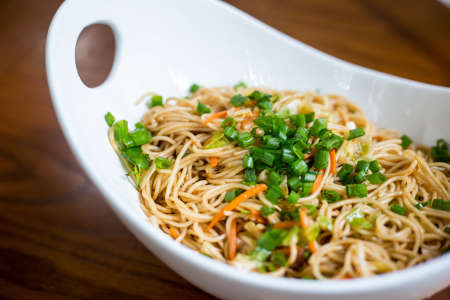 dirk Asian European fusion garlic noodles with meats and vegetables