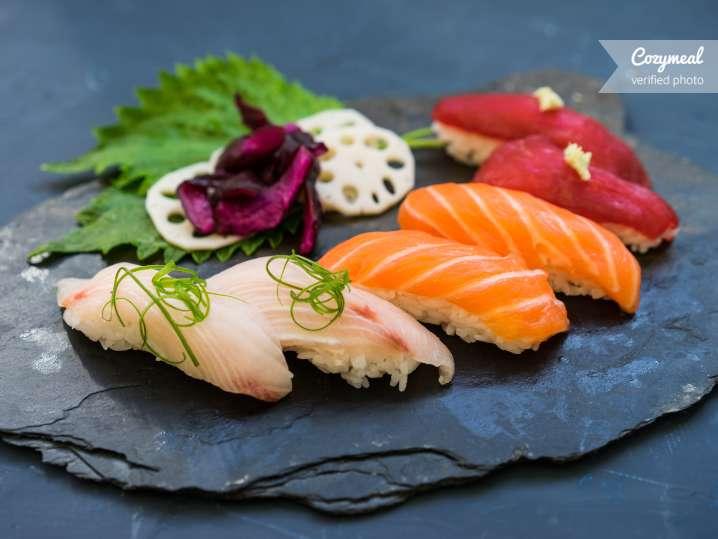 Nigiri with yellowfin tuna, shrimp and crab sticks