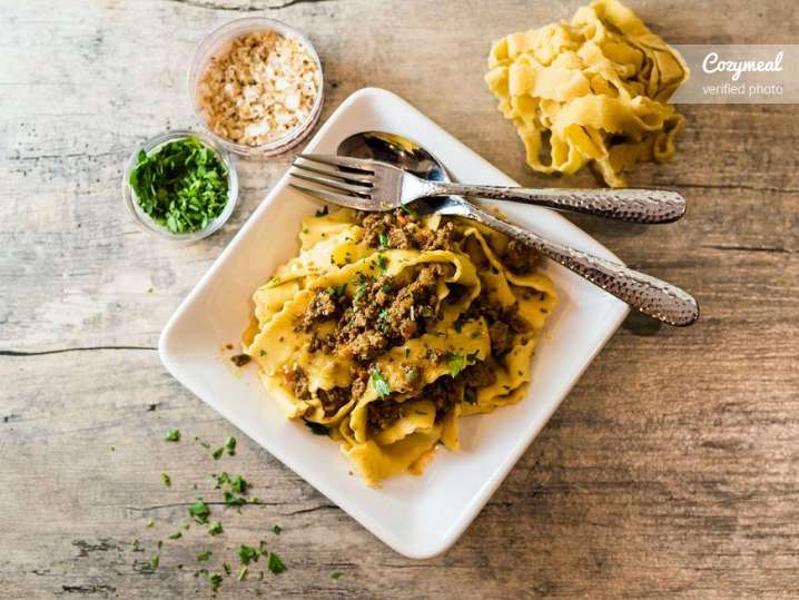 pappardelle pasta with bolognese