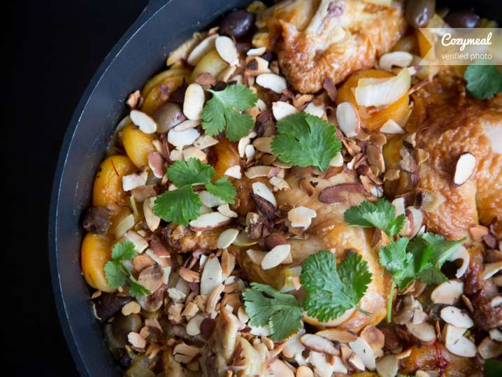 Moroccan Chicken with Apricots and Sweet Spiced Sauce
