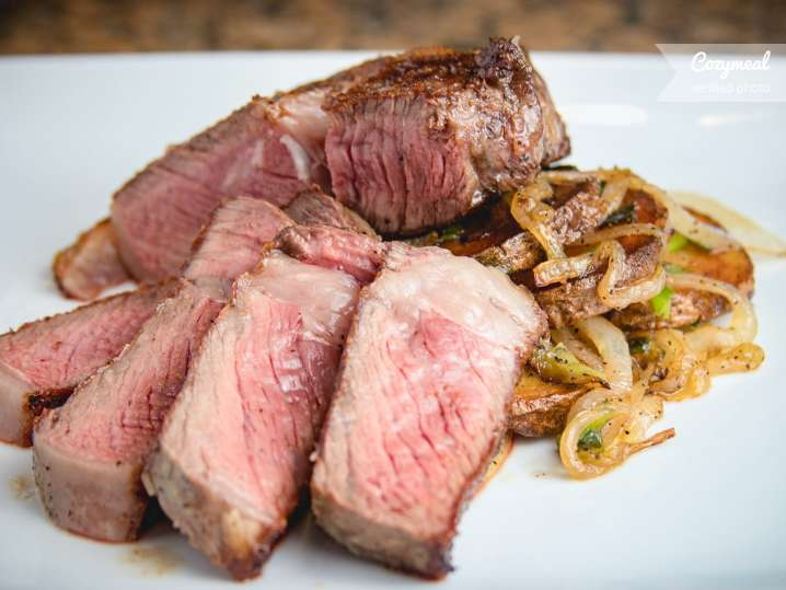 cast iron seared ribeye steak