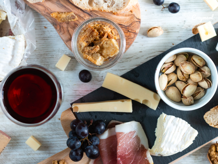 charcuterie board and wine