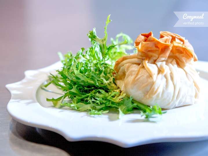 chicken filo with frisee salad